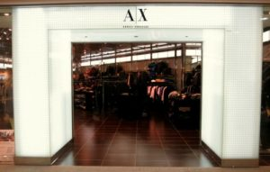 A|X Armani store at Times Square mall in Hong Kong.