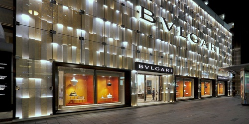 Bulgari jewellery and watch shop in Landmark Chater in Hong Kong.