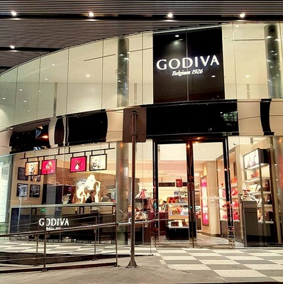 Godiva Chocolatier chocolate shop in Hong Kong.