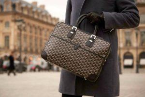 A classic men's Goyard ambassador bag.