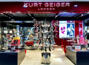 Kurt Geiger shoe and accessory store at Times Square mall in Hong Kong.