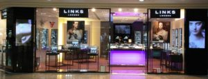 Links of London jewellery and watch store at Times Square mall in Hong Kong.