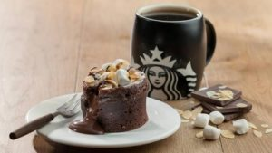 Molten chocolate cake and coffee at Starbucks in Hong Kong.