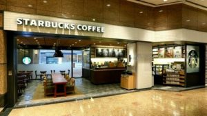 Starbucks coffee shop at the Sung Hun Kai Centre in Hong Kong.