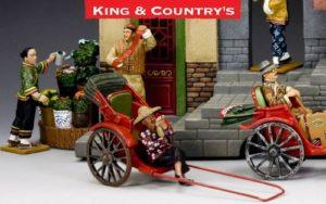 """Streets of Old Hong Kong """"The New Rickshaw"""" miniature set at King & Country shop."""