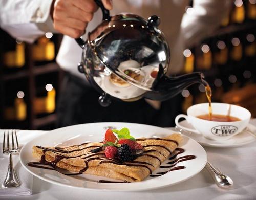 Tea WG salon tea serving with Caribbean crepe.