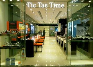 Tic Tac Time watch store within Times Square mall in Hong Kong.
