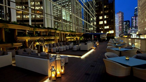 Armani/Privé nightclub's terrace bar Landmark Hong Kong.