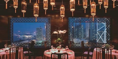 Man Wah Chinese restaurant Landmark Mandarin Oriental Hong Kong.
