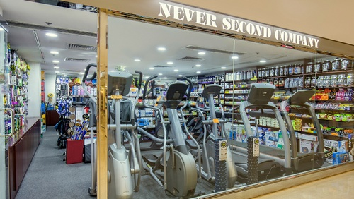 Never Second Company sports store Landmark shopping center Hong Kong.