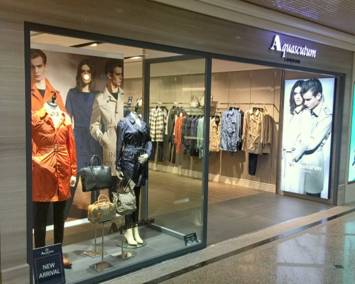 Aquascutum clothing store Times Square Hong Kong.