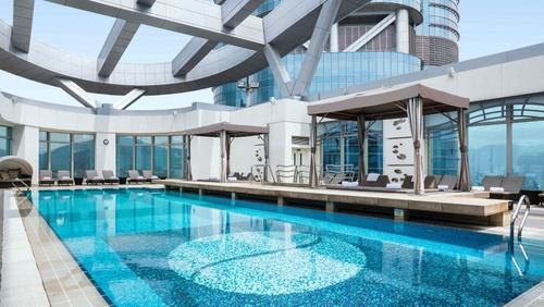 Cordis Hong Kong at Langham Place hotel's rooftop pool.