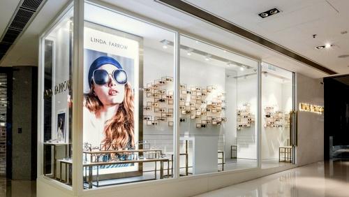 Linda Farrow optical shop IFC Mall Hong Kong.