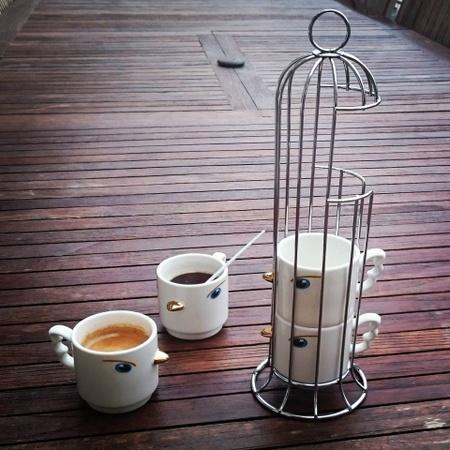 Pylones design coffee cups Hong Kong.