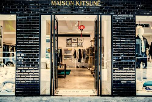 Maison Kitsuné clothing store at Fashion Walk mall in Hong Kong.