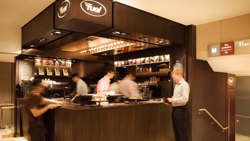 Fuel Espresso coffee shop at Landmark Atrium mall in Hong Kong.