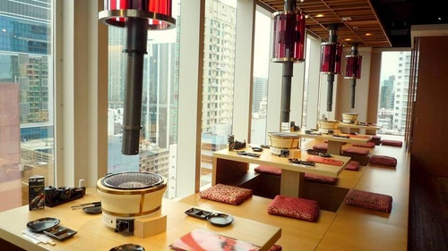 HonJin Japanese Barbecue restaurant with great views, located at the H8 high-rise building in Hong Kong.