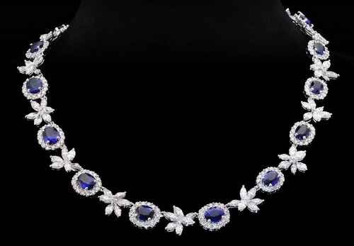 K.S. Sze & Sons sapphire and diamond necklace.