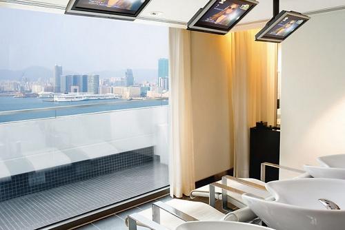 The Mandarin Salon view to Victoria Harbor Hong Kong.