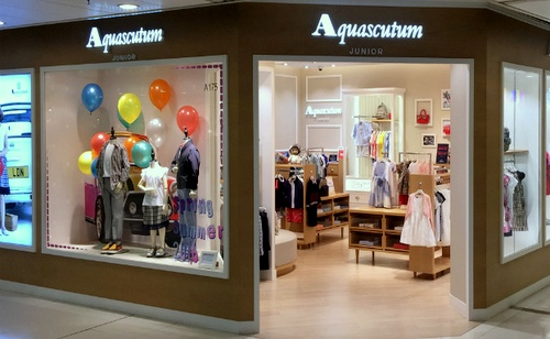 Aquascutum Junior children's clothing store New Town Plaza Shatin Hong Kong.
