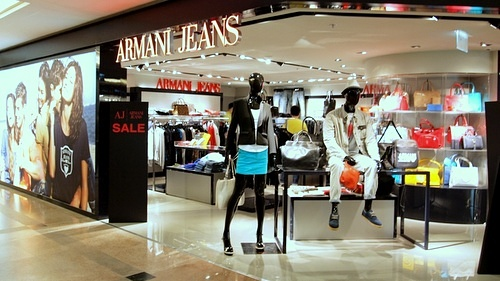 Armani Jeans shop Harbour City Hong Kong.