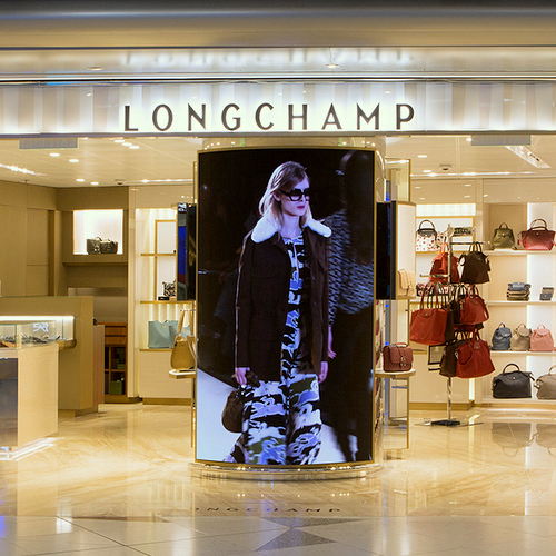 Longchamp store at Hong Kong International Airport.