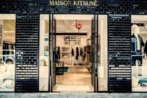 Maison Kitsuné clothing store at Fashion Walk mall in Hong Kong.